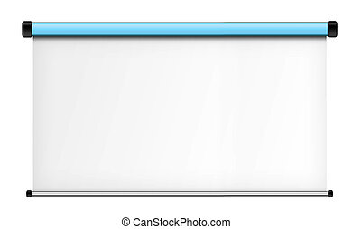 Projector screen isolated on white background.