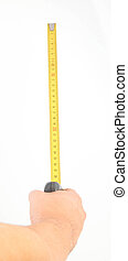 hand measuring by tape measure