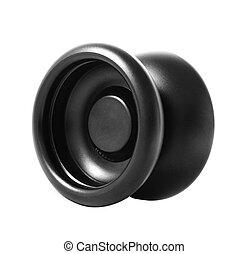 Black yo-yo toy on a white background