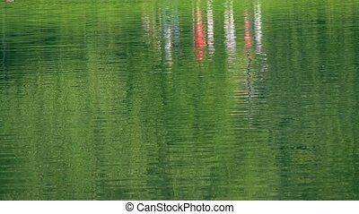 Park lake ripple and abstract reflections. 4K shot - Park...