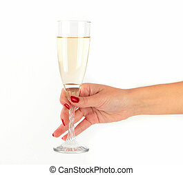 women Hand holding glass of champagne