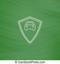 Car guard computer symbol - Car guard Outline vector icon...