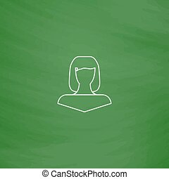 Girl head computer symbol - Girl head Outline vector icon....