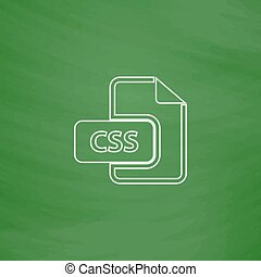 CSS computer symbol - CSS Outline vector icon Imitation draw...