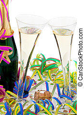 Champagne bottle and glasses in celebration of the carnival