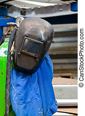 Protective clothing a welder in the metal industry