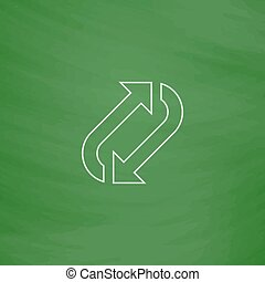 rotation computer symbol - rotation Outline vector icon....
