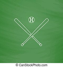 baseball computer symbol - baseball Outline vector icon....