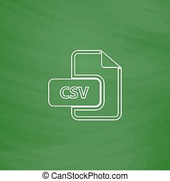 CSV computer symbol - CSV Outline vector icon Imitation draw...
