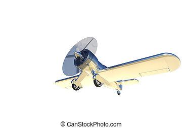 render, isolato, aereo, bianco, elica,  3D