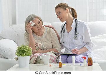 シニア, 患者, 彼女, 医者