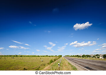 Road and agricultural fields in Moldova - Road and...