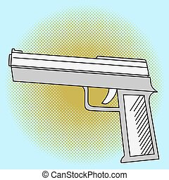 Pistol pop art vector
