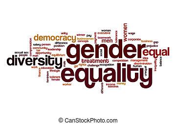 género, palabra, concepto, igualdad, nube