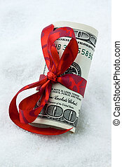 U.S. dollars bank notes as money gift with bow
