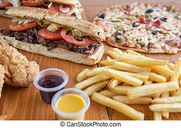 Combo meal sub sandwiches pizza chips chicken strips
