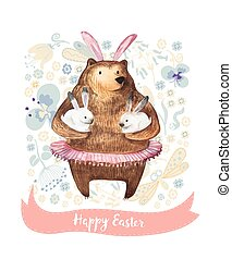 Cute cartoon bear holding two little bunnies on a floral background with tiny flowers. Hand Drawn Watercolor illustration. Happy Easter Wintage Card