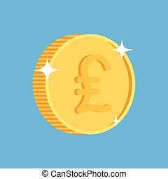 gold coin icon with british pound symbol. One penny coin....