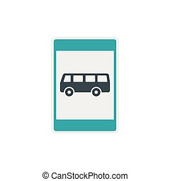 Bus stop sign icon, flat style - icon in flat style on a...