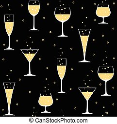 champagne glasses on black - Seamless party pattern with...