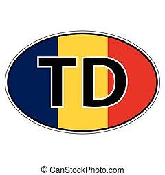 Sticker on car, flag Republic Chad, Tchad - Sticker on car,...
