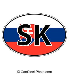 Sticker on car, flag Slovakia the inscription SK vector for...