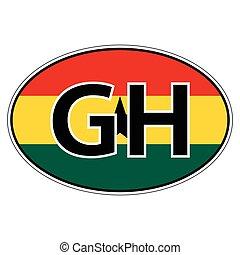 Pegatina, en, coche, bandera, república, Ghana
