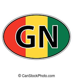 Sticker on car, flag Republic Guinea with the inscription GN...