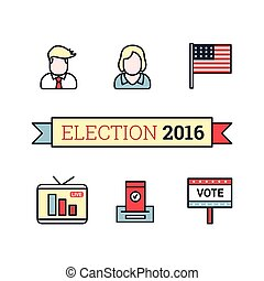 Thin line art icons set. American election 2016. US...