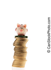 Coin Stack of euro coins with piggy bank