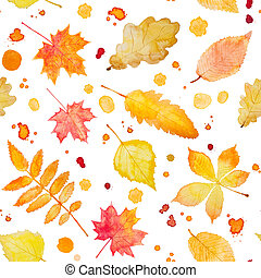 Seamless pattern with watercolor autumn leaves and splash -...
