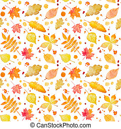 Seamless pattern with autumn leaves and splash Watercolor...