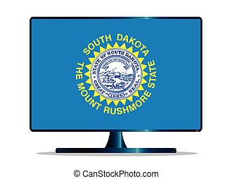 South Dakota Flag TV - A TV or computer screen with the...