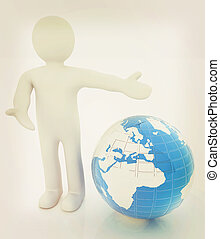 3d people - man, person presenting - pointing Global concept...