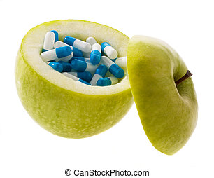 Apple with tablets capsules. Symbol for vitamin tablets -...