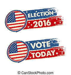 USA election 2016 and vote today with american flag banners