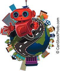 Robot on the globe - Illustration red robot on the road...