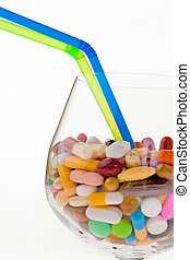 Symbol for tablets and drugs addiction - Example picture of...