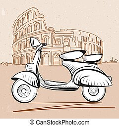 Italian Scooter in Front of Colosseum in Rome, Hand Drawn...