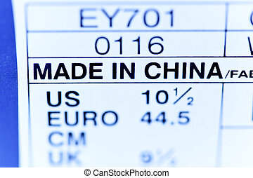 Shield Made in China - Sign of a product made in China of a...