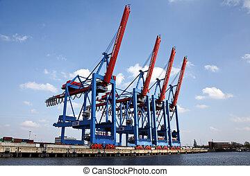 Hamburg Port - Ships in the port of Hamburg in Germany,...