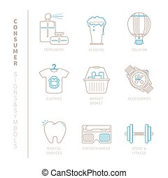 Set of vector shopping icons and concepts in mono thin line...