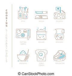 Set of vector cooking icons and concepts in mono thin line...