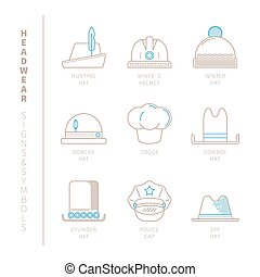 Set of vector headwear icons and concepts in mono thin line...
