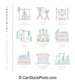 Set of vector industrial icons and concepts in mono thin...