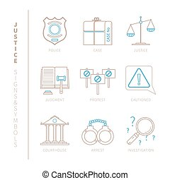 Set of vector justice icons and concepts in mono thin line...