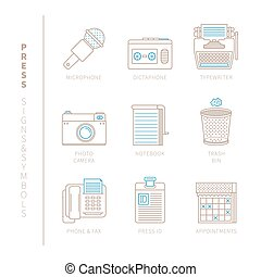 Set of vector press icons and concepts in mono thin line...