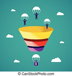 Sales funnel vector concept in flat style