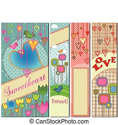 Set of Four Love Themed Banners