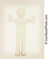 3d man. Ban, veto, warning concept - making stop gesture ....
